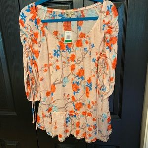 Democracy NWT Sheer Peasant Blouse